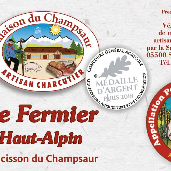 Saucisson Haut Alpin Montagnard Le Fermier Médaille d'Argent et de Bronze Salaison du Champsaur Saint Laurent du Cros Hautes Alpes Charcuterie Artisanale en ligne
