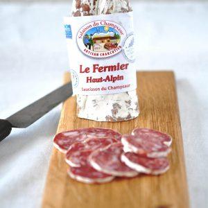 Saucisson Le Fermier Haut Alpin Pur Porc Le fermier Haut Alpin Salaison du Champsaur Saint Laurent du Cros Hautes Alpes Charcuterie Artisanale en ligne