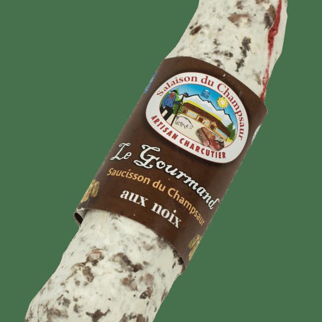 Saucisson aux noix Le Gourmand Salaison du Champsaur Saint Laurent du Cros Hautes Alpes Charcuterie Artisanale en ligne