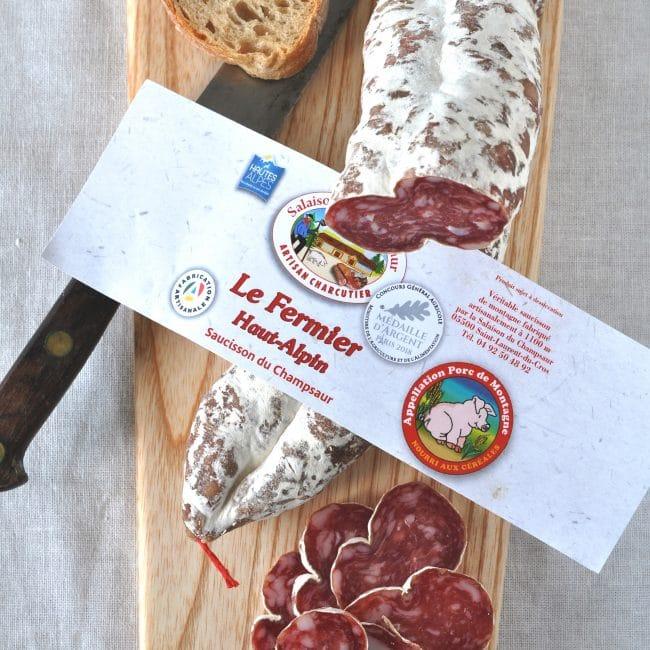 Saucisson Haut Alpin Montagnard Le Fermier Salaison du Champsaur Saint Laurent du Cros Hautes Alpes Charcuterie Artisanale en ligne