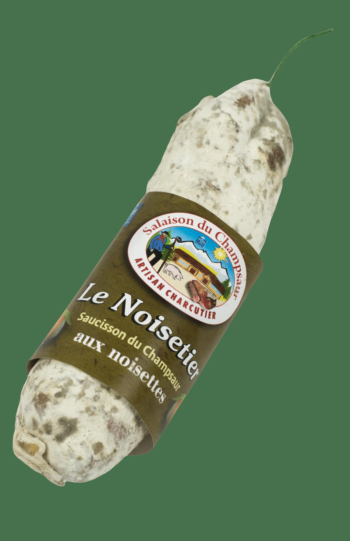 Saucisson aux noisettes Le noisetier Salaison du Champsaur Saint Laurent du Cros Hautes Alpes Charcuterie Artisanale en ligne